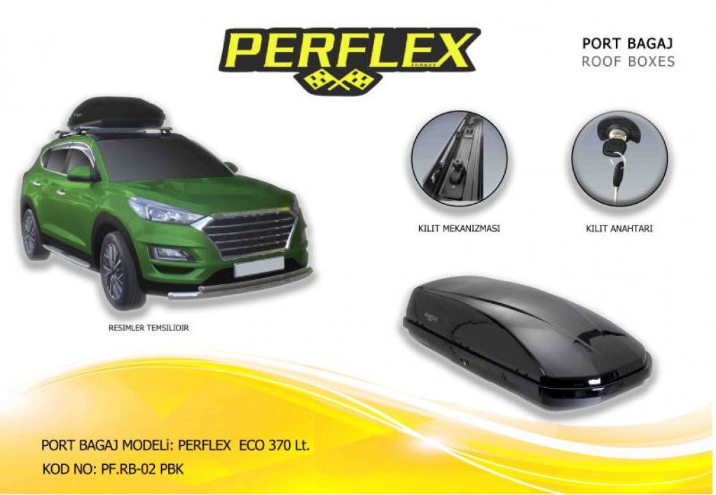 Perflex Eco  bagaj (düz) 370 Lt Siyah